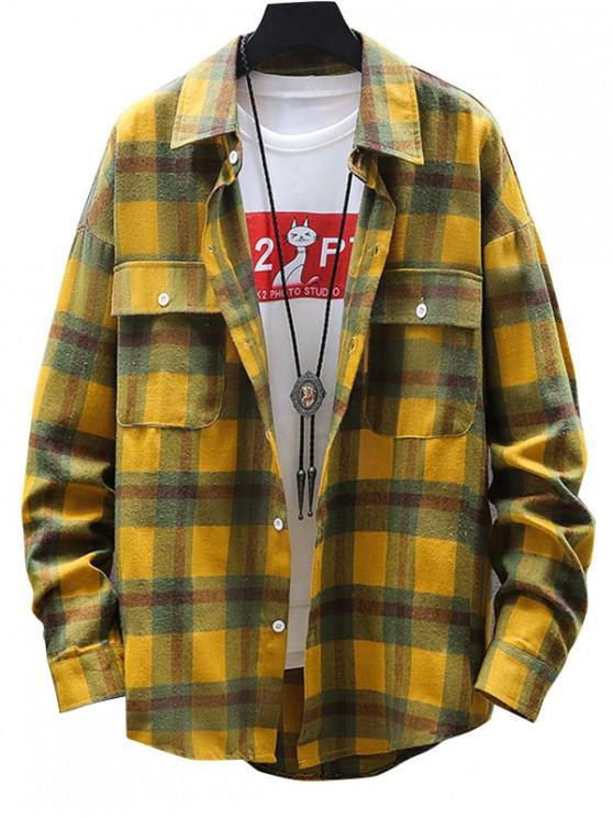trendy Plaid Print Button Up Pocket Shirt - YELLOW XL