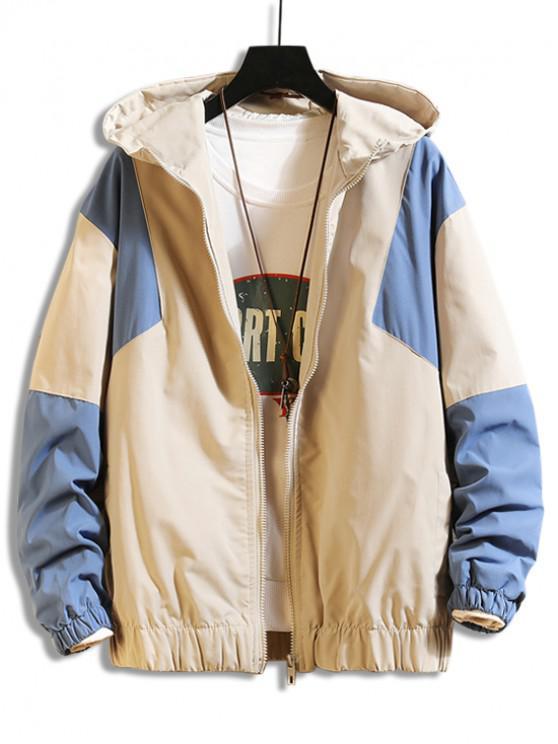 outfit Color Spliced Zipper Design Hooded Jacket - LIGHT KHAKI L