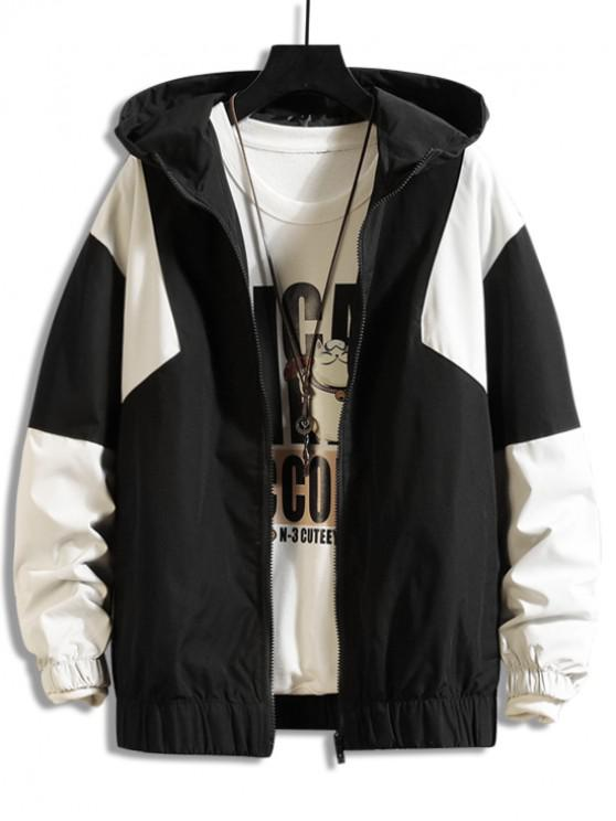 buy Color Spliced Zipper Design Hooded Jacket - BLACK XL