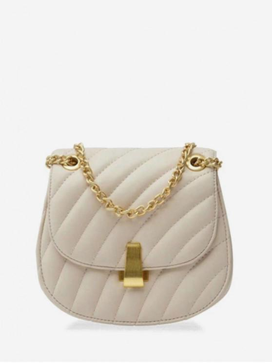 fancy Chain Simple Line Saddle Shoulder Bag - MILK WHITE