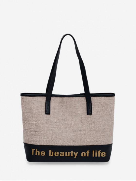 sale Letter Print Large Capacity Canvas Shoulder Bag - BEIGE