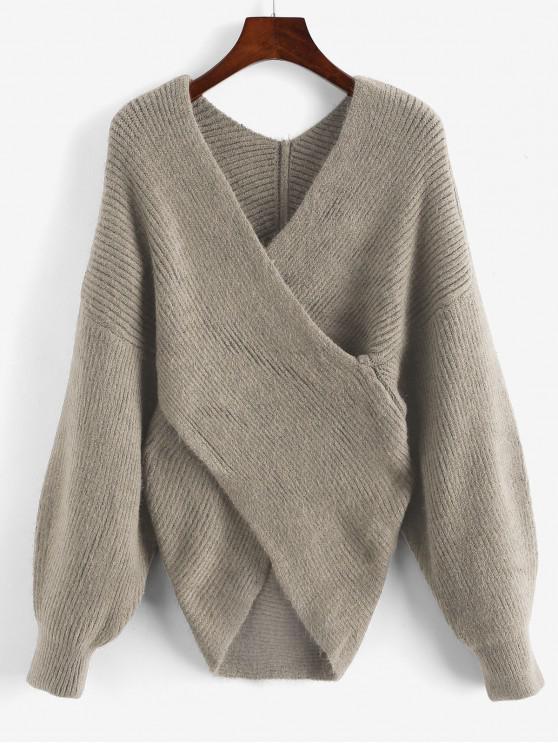V Ausschnitt Überlappung Einfarbiger Pullover - Khaki Eine Größe