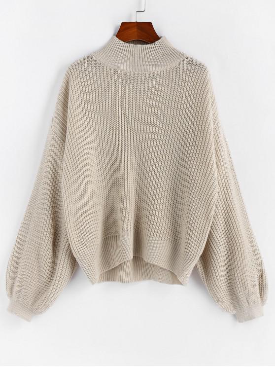 hot ZAFUL Drop Shoulder Lantern Sleeve Textured Sweater - WARM WHITE L