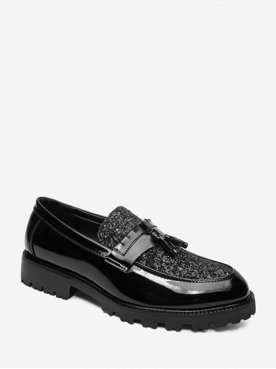 shop Fringe Shiny Sequins Panel Slip On Work Shoes - BLACK EU 38