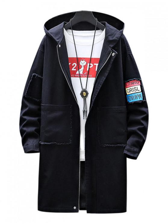 hot Casual Letter Print Zip Up Hooded Jacket - BLACK S