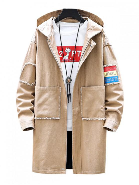 sale Casual Letter Print Zip Up Hooded Jacket - KHAKI XS