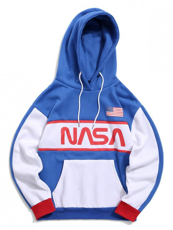 shops ZAFUL Color-blocking Drop Shoulder Fleece Hoodie - BLUE XL
