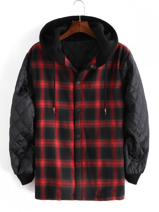 shops Plaid Printed Spliced Button Up Jacket - RED M