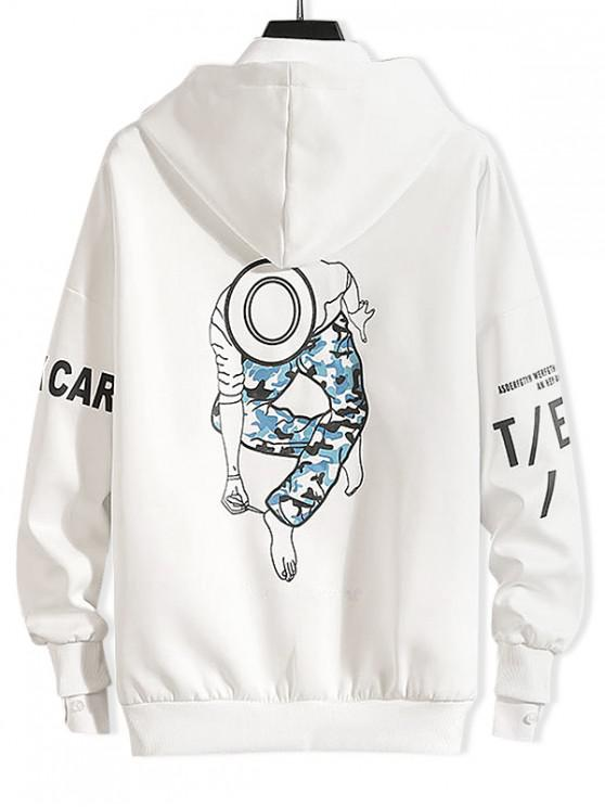 sale Dancing Men Character Letter Print Drop Shoulder Hoodie - WHITE 3XL