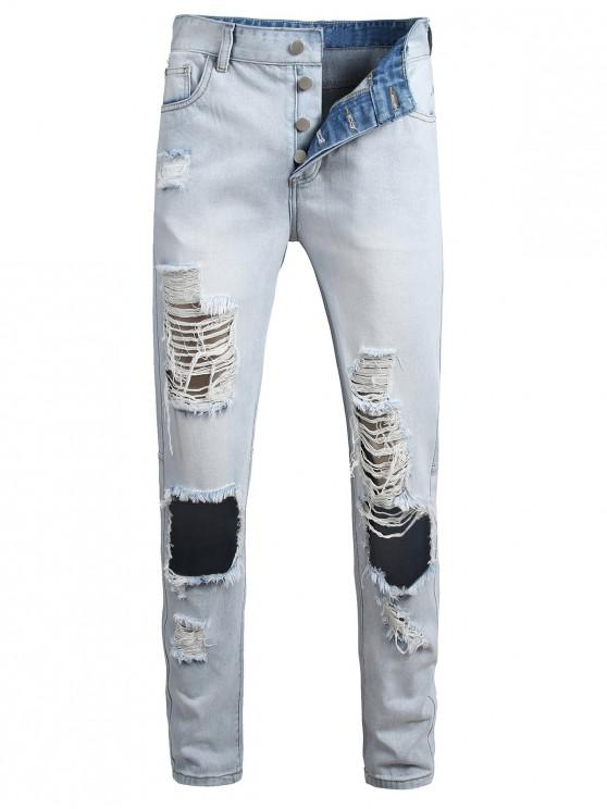 womens Destroyed Hole Decoration Button Fly Jeans - JEANS BLUE 38