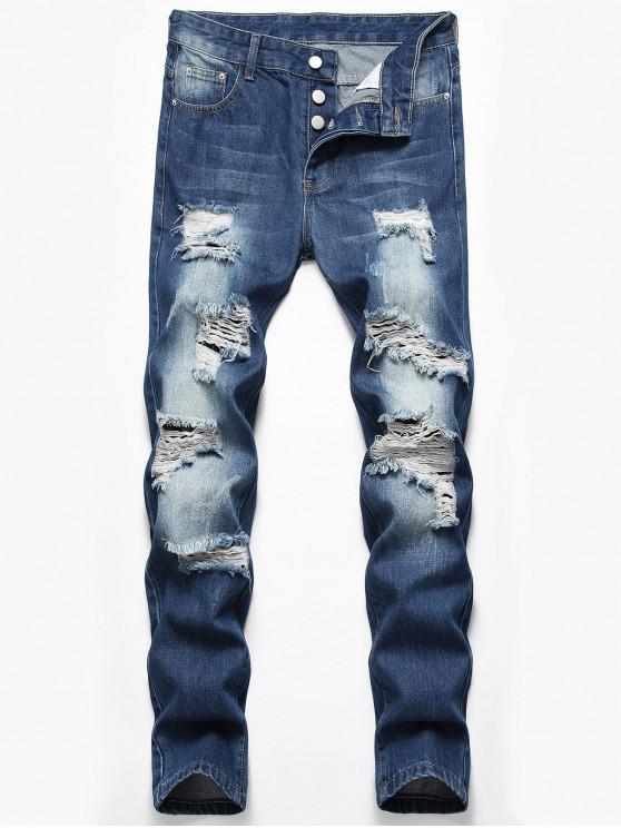 fancy Destroyed Design Button Fly Jeans - DENIM DARK BLUE 42