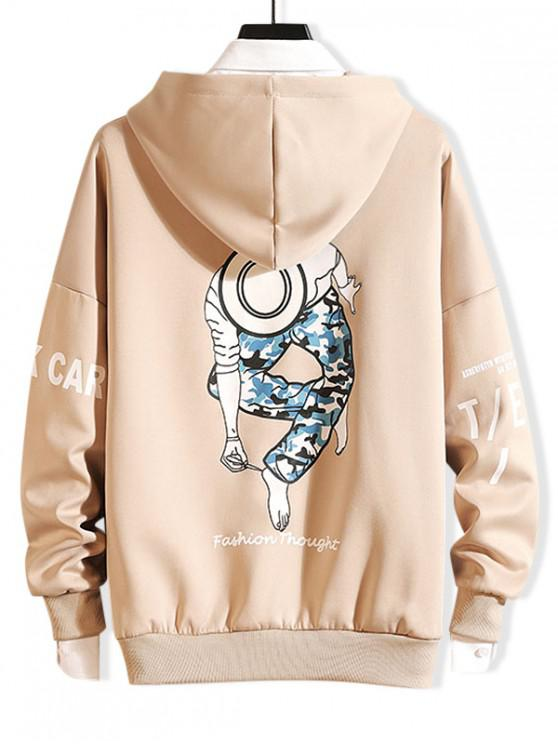 affordable Dancing Men Character Letter Print Drop Shoulder Hoodie - KHAKI L