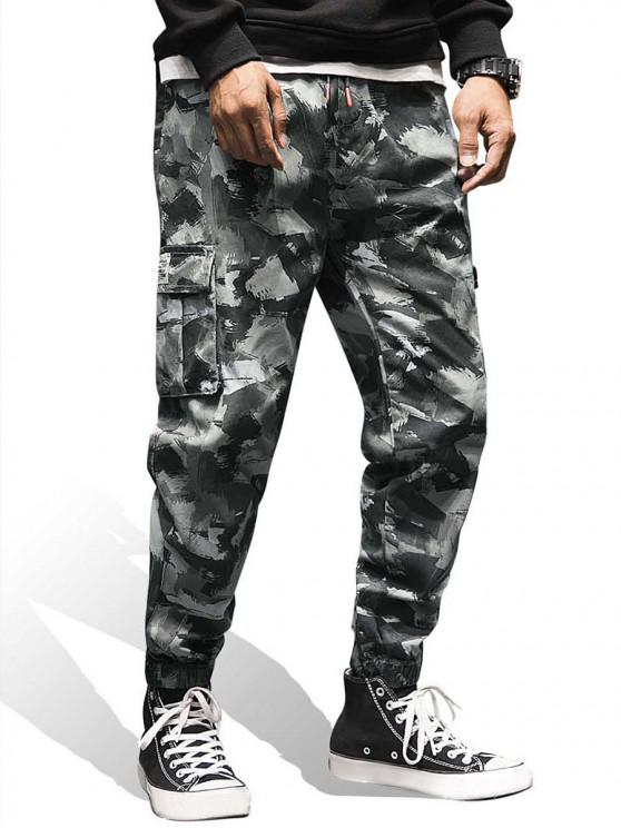 ladies Camo Print Pocket Decoration Jogger Pants - DIGITAL WOODLAND CAMOUFLAGE XL