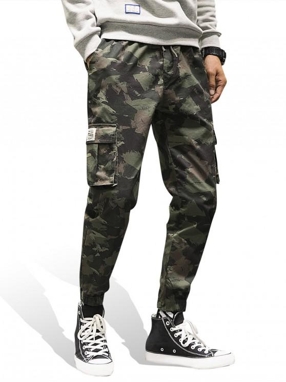 outfit Camo Print Pocket Decoration Jogger Pants - WOODLAND CAMOUFLAGE L
