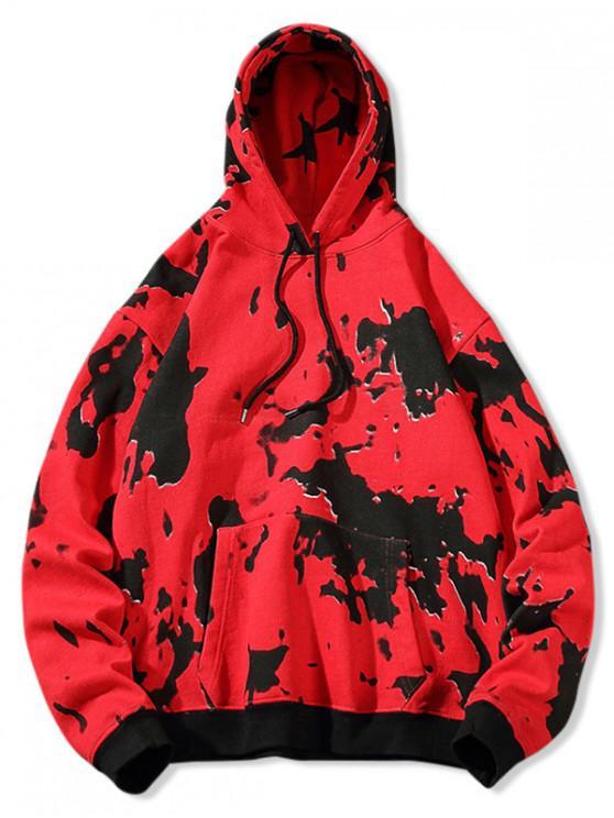 trendy Tie Dye Print Casual Drawstring Hoodie - LAVA RED M