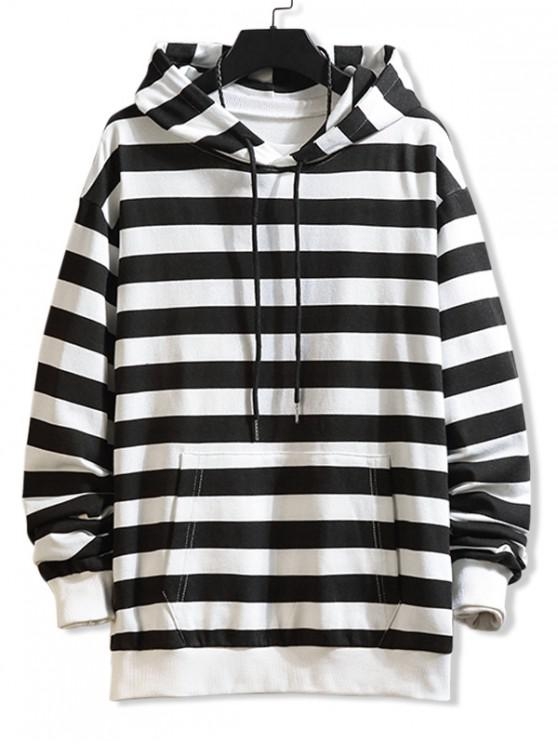 lady Colorblock Striped Print Drawstring Hoodie - WHITE L