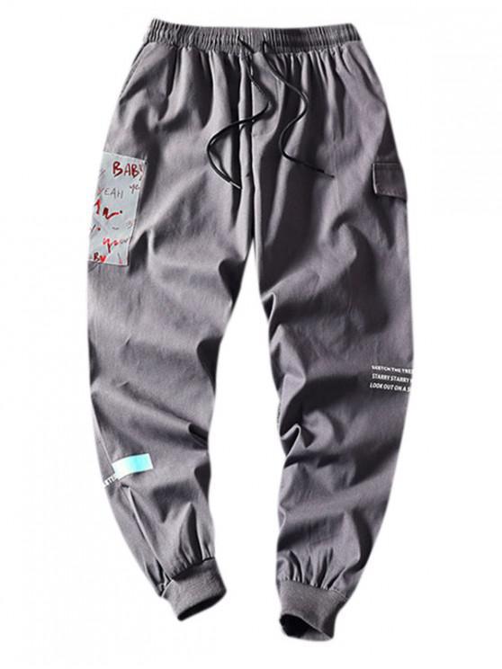 Carta Imprimir cintura elástica calças Casual - Cinzento 4XL