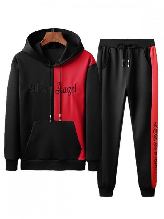 Pantaloni colorblock Letter broderie hanorac și jogger - Lava Roșu S