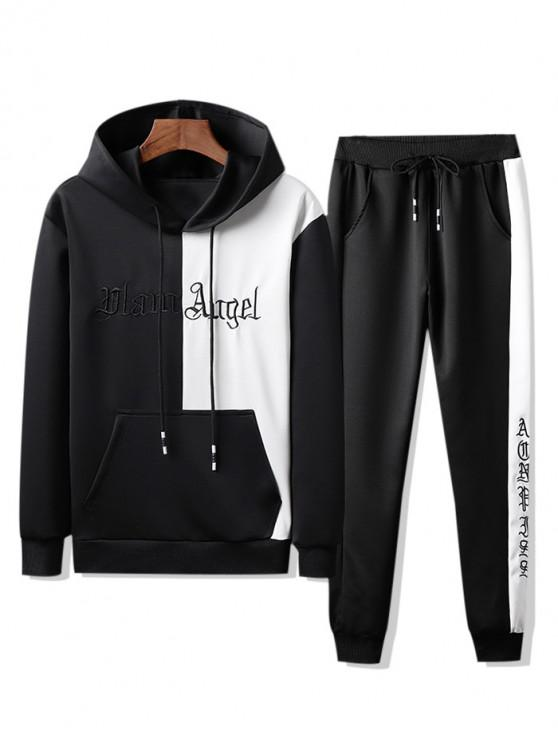 women's Colorblock Letter Embroidery Hoodie and Jogger Pants - BLACK S