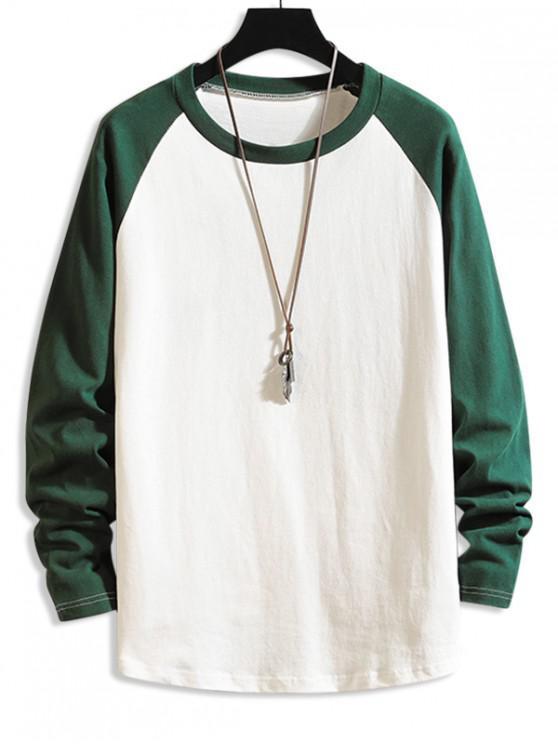 fancy Color Blocking Drop Shoulder Long-sleeved T-shirt - GREENISH BLUE XL