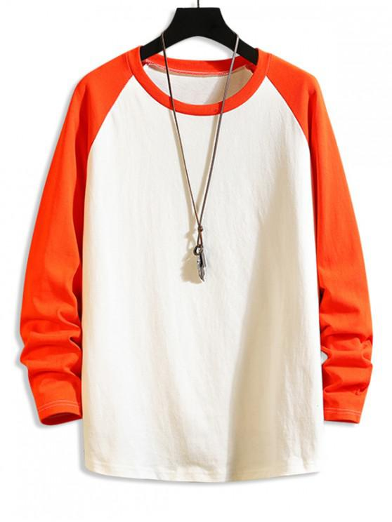 chic Color Blocking Drop Shoulder Long-sleeved T-shirt - LIVING CORAL M