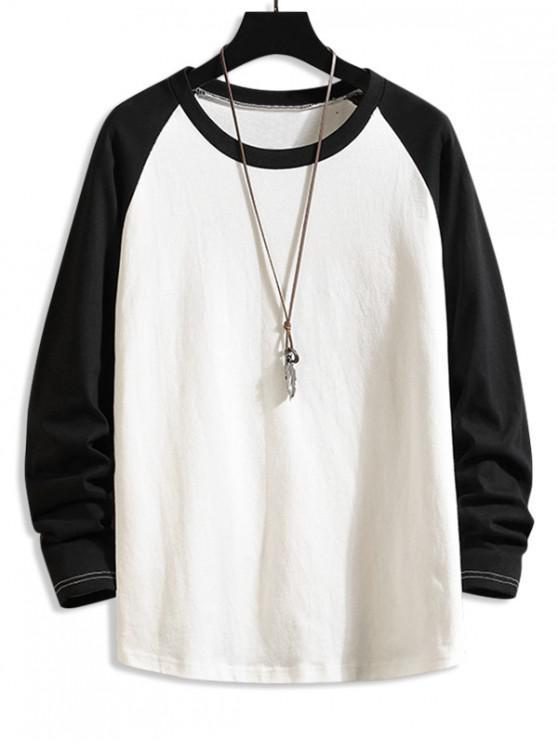 Culoarea de blocare picătură umăr cu mâneci lungi T-shirt - Negru 2XL