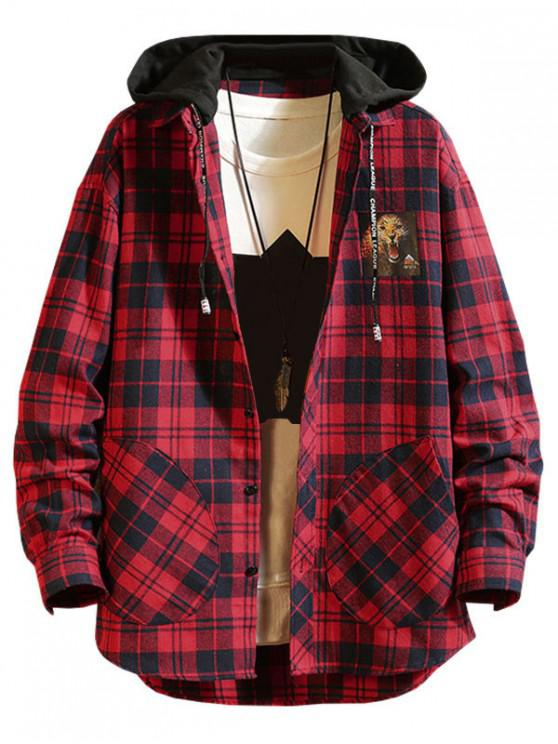 affordable Plaid Lepoard Print High Low Colorblock Hooded Shirt - RED L
