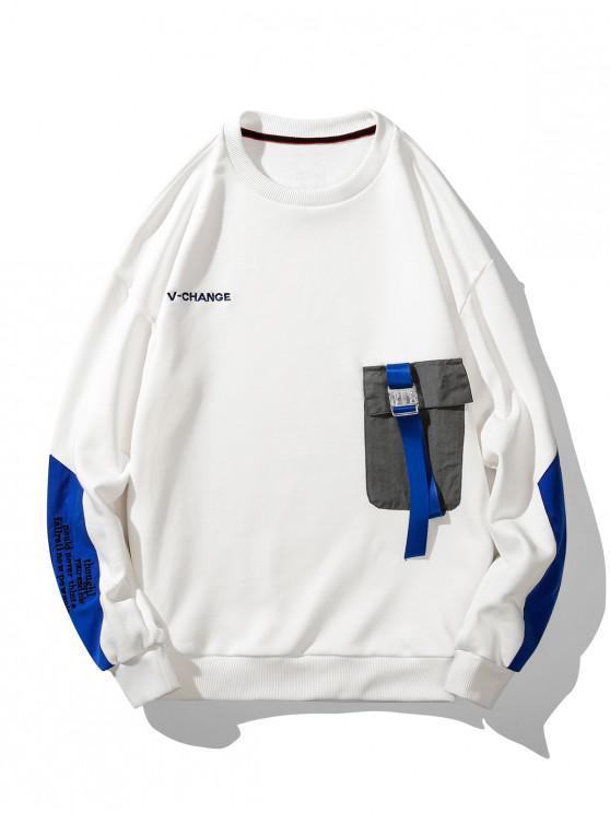 affordable Buckle Pocket Letter Embroidery Drop Shoulder Sweatshirt - WHITE 2XL