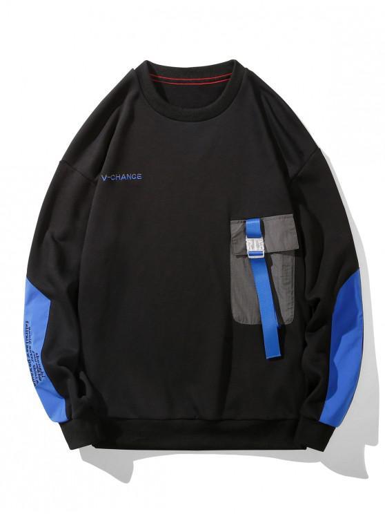 hot Buckle Pocket Letter Embroidery Drop Shoulder Sweatshirt - BLACK 2XL