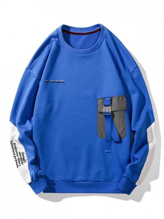 fancy Buckle Pocket Letter Embroidery Drop Shoulder Sweatshirt - BLUE 2XL