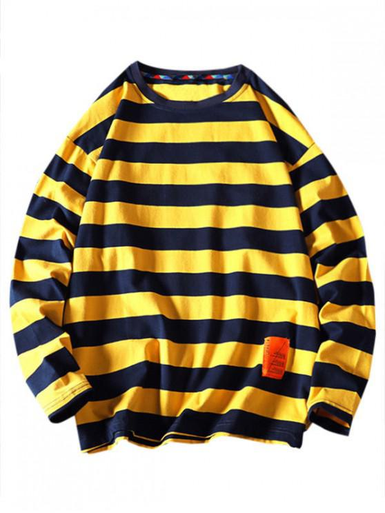 womens Striped Pattern Letter Design Sweatshirt - BEE YELLOW L