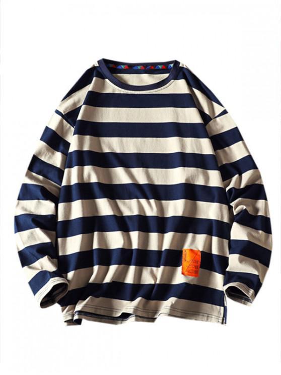 Sweatshirt mit Streifenmuster und Buchstabe Stil - Khaki 3XL