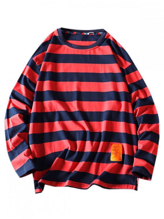 buy Striped Pattern Letter Design Sweatshirt - RED XL