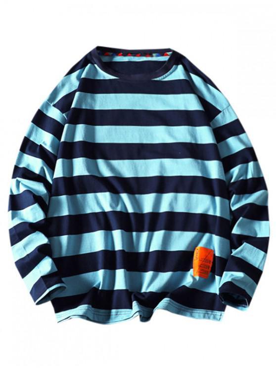 outfit Striped Pattern Letter Design Sweatshirt - BLUE XL
