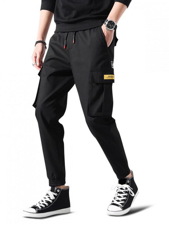 Scrisoare Print Pantaloni Aplice Cordon Cargo jogger - Negru L