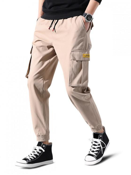 ladies Letter Print Applique Drawstring Cargo Jogger Pants - LIGHT KHAKI M