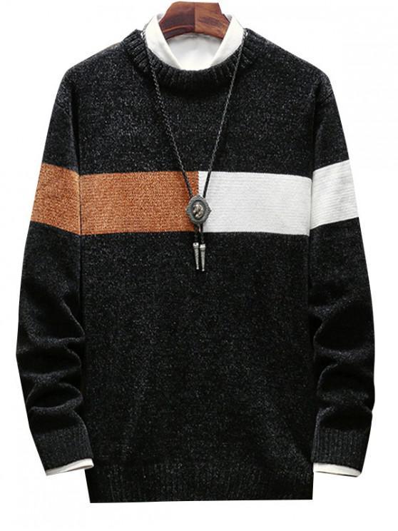 trendy Color Spliced Round Neck Sweater - BLACK XS