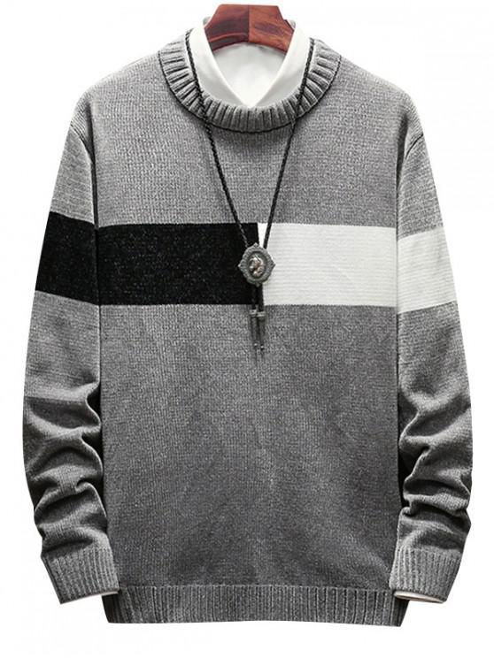 ladies Color Spliced Round Neck Sweater - GRAY XL