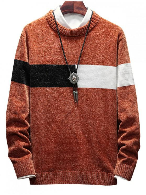 best Color Spliced Round Neck Sweater - COFFEE XS