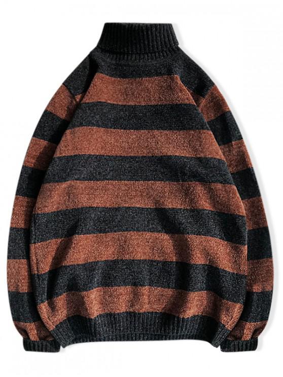 高領條紋休閒毛衣雪尼爾 - 多-B M