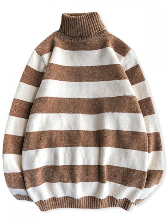 fancy Turtleneck Striped Casual Chenille Sweater - MULTI-C XS