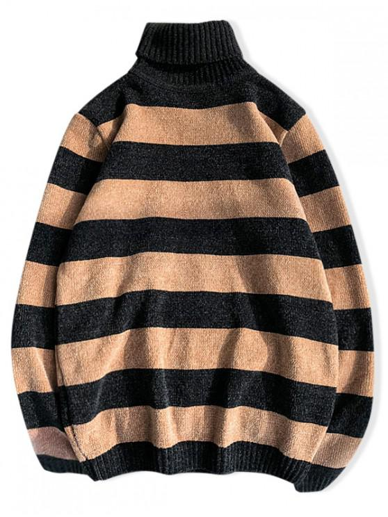 womens Turtleneck Striped Casual Chenille Sweater - MULTI-D M