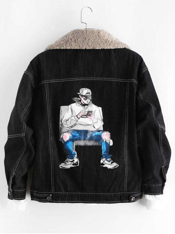 fashion Cool Men Character Letter Print Scratch Fleece Jean Jacket - BLACK M