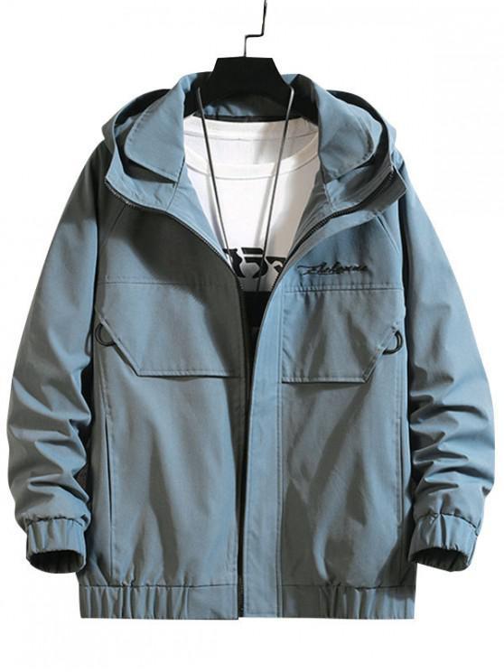 women Embroidery Waves Letter Raglan Sleeve Hooded Jacket - BLUE S