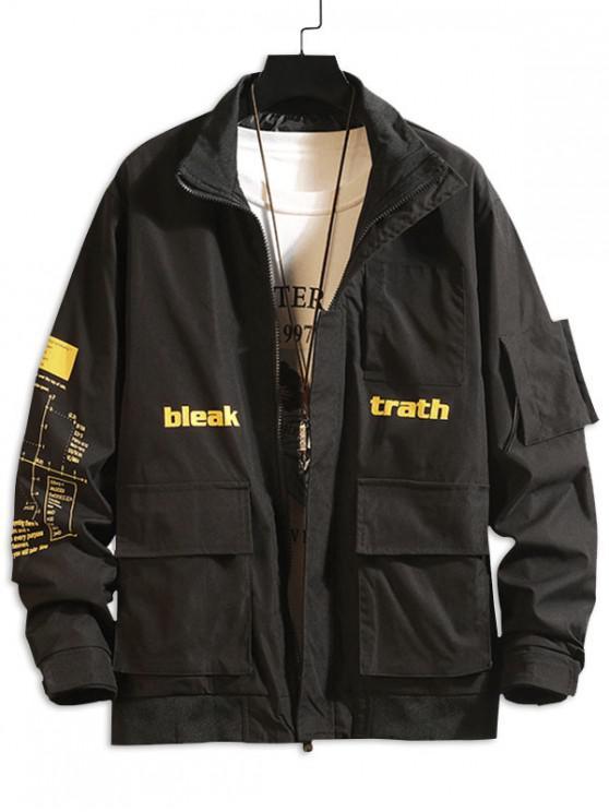 信圖形打印口袋拼布休閒夾克貨物 - 黑色 M