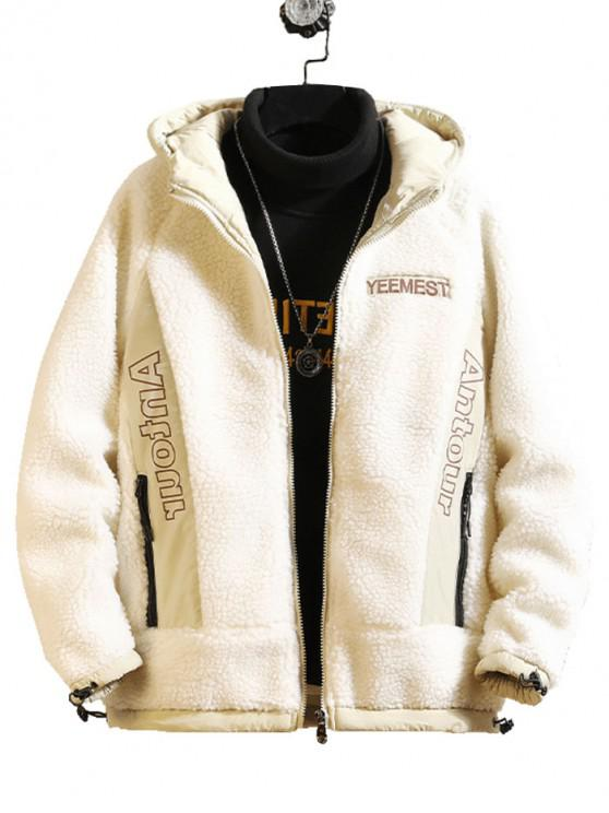 affordable Contrast Letter Print Hooded Faux Fur Teddy Jacket - WHITE S