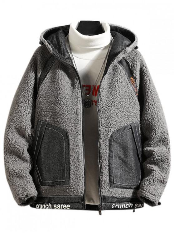 new Letter Print Raglan Sleeve Hooded Faux Fur Teddy Jacket - GRAY M