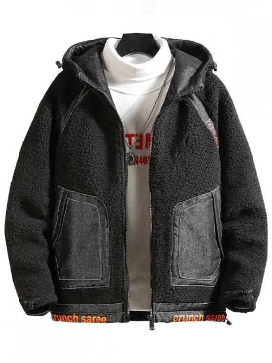 shop Letter Print Raglan Sleeve Hooded Faux Fur Teddy Jacket - BLACK S