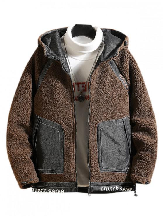 sale Letter Print Raglan Sleeve Hooded Faux Fur Teddy Jacket - COFFEE XL