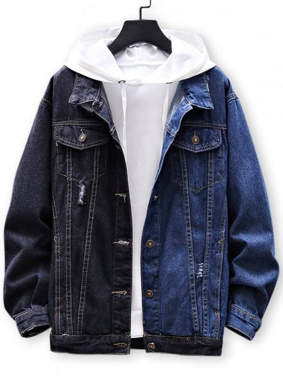 lady Color Blocking Button Up Denim Jacket - DEEP BLUE M